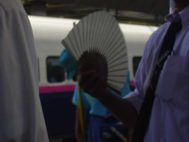 Tokyo, fanning on a platform